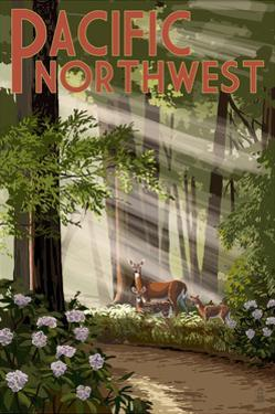 Pacific Northwest - Deer in Forest by Lantern Press