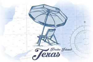 Padre Island, Texas - Beach Chair and Umbrella - Blue - Coastal Icon by Lantern Press