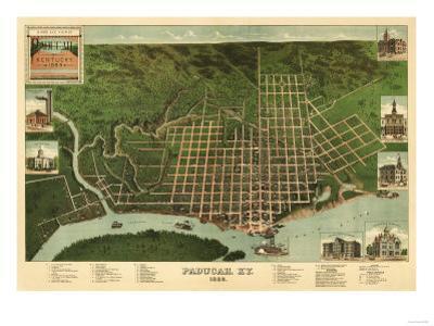 Paducah, Kentucky - Panoramic Map by Lantern Press