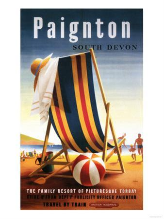 Paignton, England - British Railways Beach Chair and Ball Poster by Lantern Press