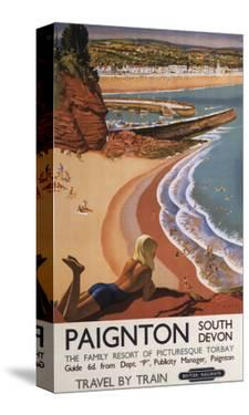 Paignton, England - British Railways Girl Looking over a Cliff Poster by Lantern Press