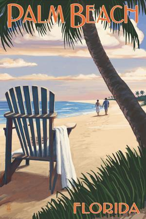 Palm Beach, Florida - Adirondack Chair on the Beach by Lantern Press