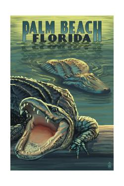 Palm Beach, Florida - Alligator Scene by Lantern Press