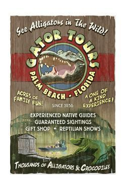 Palm Beach, Florida - Alligator Tours Vintage Sign by Lantern Press