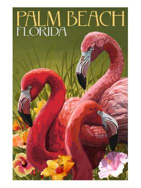 Palm Beach, Florida - Flamingos by Lantern Press