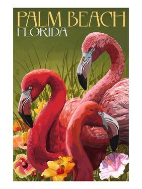 Palm Beach, Florida - Flamingos by Lantern Press