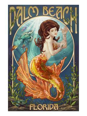 Palm Beach, Florida - Mermaid Scene by Lantern Press
