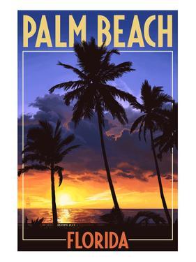 Palm Beach, Florida - Palms and Sunset by Lantern Press