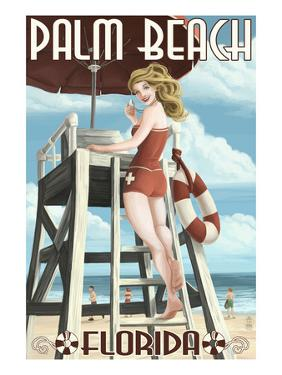 Palm Beach, Florida - Pinup Girl Lifeguard by Lantern Press