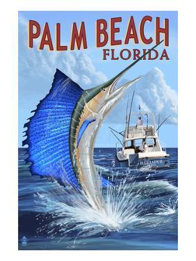 Palm Beach, Florida - Sailfish Scene by Lantern Press