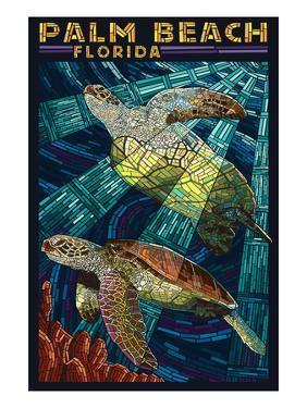 Palm Beach, Florida - Sea Turtle Paper Mosaic by Lantern Press