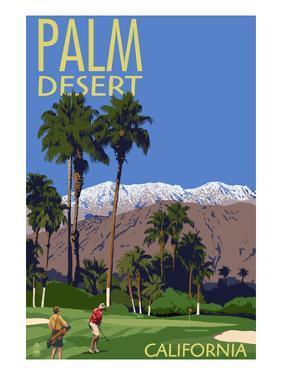 Palm Desert, California - Golfing Scene by Lantern Press