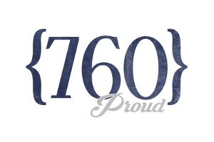 Palm Springs, California - 760 Area Code (Blue) by Lantern Press