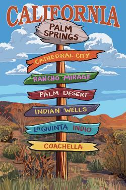 Palm Springs, California - Destination Signpost by Lantern Press