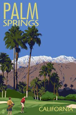 Palm Springs, California - Golfing Scene by Lantern Press