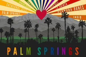 Palm Springs, California - Palm Trees and Mountains - Rainbow by Lantern Press