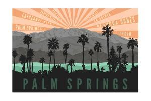 Palm Springs, California - Palm Trees and Mountains by Lantern Press