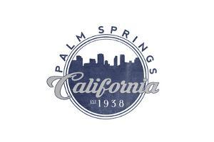 Palm Springs, California - Skyline Seal (Blue) by Lantern Press