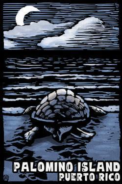 Palomino Island, Puerto Rico - Sea Turtle on Beach - Scratchboard by Lantern Press