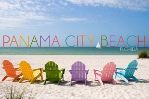 Panama City Beach, Florida - Colorful Beach Chairs by Lantern Press