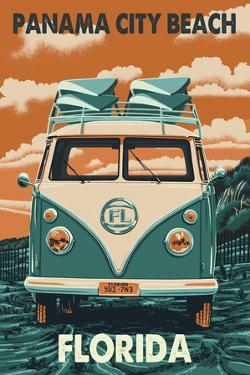 Panama City Beach, Florida Letterpress by Lantern Press