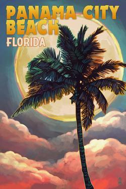 Panama City Beach, Florida - Palm and Moon by Lantern Press