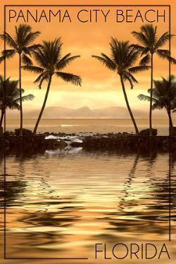 Panama City Beach, Florida - Palms and Orange Sunset by Lantern Press