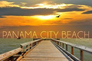 Panama City Beach, Florida - Pier at Sunset by Lantern Press