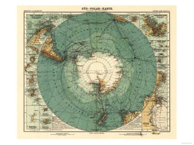 Panoramic Map of Antarctica - Anartica by Lantern Press