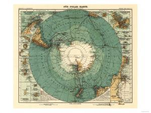 Panoramic Map of Antarctica - Anartica by Lantern Press