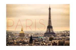 Paris, France - City Aerial View and Eiffel Tower by Lantern Press