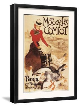Paris, France - Comiot Motocycles Woman and Geese Promo Poster by Lantern Press