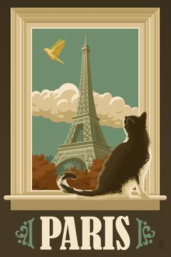 Paris, France - Eiffel Tower and Cat Window by Lantern Press