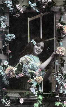 Paris, France - Little Girl at Window with Flowers by Lantern Press