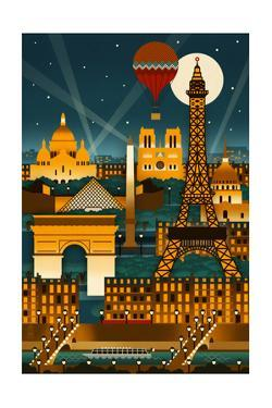 Paris, France - Retro Skyline (no text) by Lantern Press