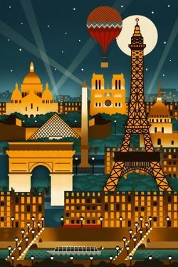 Paris, France - Retro Skyline (no text) by Lantern Press