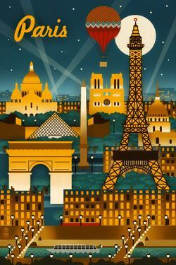 Paris, France - Retro Skyline by Lantern Press