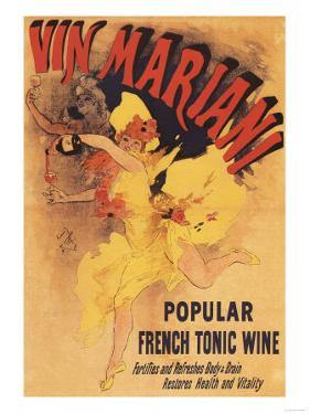 Paris, France - Vin Mariani Dancing Girl Pouring Wine Promotional Poster by Lantern Press