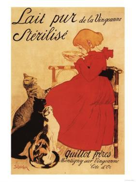 Paris, France - Vingeanne Milk Girl with Cats Advertisement Poster by Lantern Press