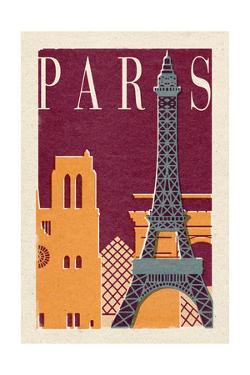 Paris - Woodblock by Lantern Press