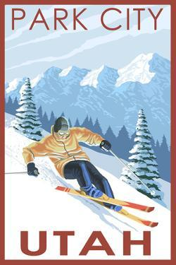 Park City, Utah - Downhill Skier by Lantern Press