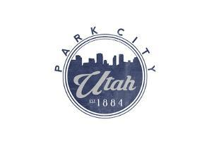 Park City, Utah - Skyline Seal (Blue) by Lantern Press