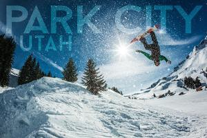 Park City, Utah - Snowboarder Jumping by Lantern Press