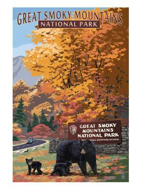 Park Entrance and Bear Family - Great Smoky Mountains National Park, TN by Lantern Press