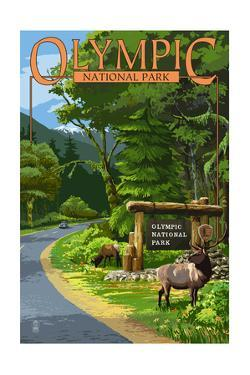 Park Entrance and Elk - Olympic National Park, Washington by Lantern Press
