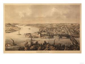 Parkersburg, West Virginia - Panoramic Map by Lantern Press