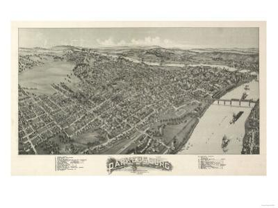 Parkersburg, West Virginia - Panoramic Map by Lantern Press