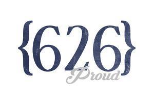 Pasadena, California - 626 Area Code (Blue) by Lantern Press