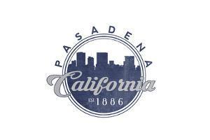 Pasadena, California - Skyline Seal (Blue) by Lantern Press