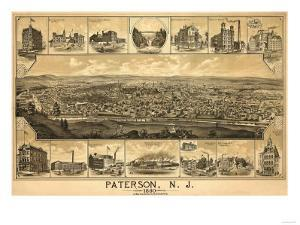 Paterson, New Jersey - Panoramic Map by Lantern Press